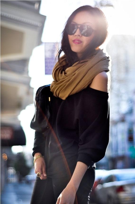 Sweater dolman off the shoulder black womens