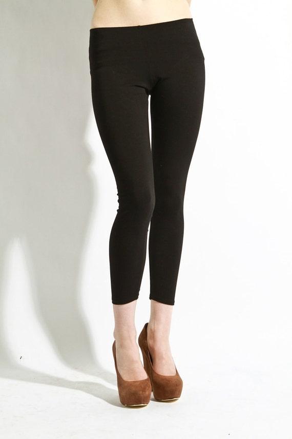 """Leggings Cotton Black - Premium Stretch Soft Pants  26"""" inseam Medium Large"""