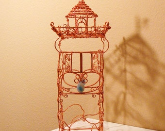 Rapunzel's Tower Copper Wire Sculpture Fairytale Castle