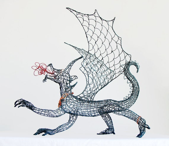 Fire Breathing Dragon Wire Sculpture and Necklace