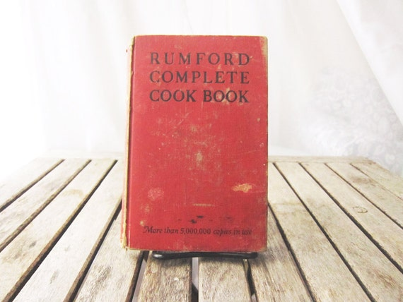 Vintage Red Cook Book - 1940s Rumsford Hardcover Cook Book