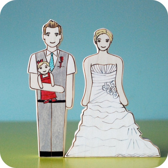 Custom Wedding Cake Topper Couple with Baby in Arms