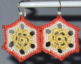 Boho Yellow Peach Flower Hexagon Earrings on Gold Filled Wire
