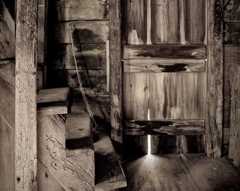 Inside the Windmill, Rustic Black White Photography Print, Mysterious Charm Warm Tone, Fine Art Photography