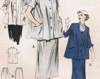 1950s Butterick 6347 Vintage Sewing Pattern Misses' Maternity Two-Piece Dress Size 14 Bust 32