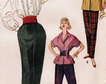 1950s Simplicity 4464 Vintage Sewing Pattern Misses' Blouse, Overblouse, and Tapered Slacks Size 11 Bust 29, Size 14 Bust 32