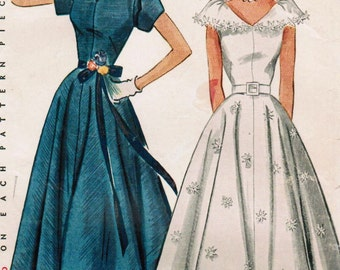 1950s Simplicity 3410 Vintage Sewing Pattern Misses Formal Dress, Evening Gown, Prom Dress Size 12 Bust 30