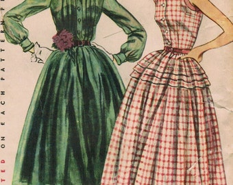 1950s Simplicity 3848 Vintage Sewing Pattern Misses' One-Piece Dress Size 12 Bust 30