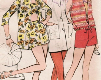 1950s Butterick 8990 Vintage Sewing Pattern Misses' Bra Top, Shorts, Beach Coat, Tunic, Pants, and Top Size 12 Bust 32