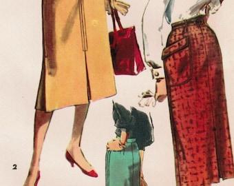 1950s Simplicity 4975 UNCUT Vintage Sewing Pattern Misses' Skirt Waist 30