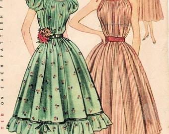 1950s Simplicity 3893 Vintage Sewing Pattern Junior Misses' One-Piece Chemise Dress, Sundress, Muu Muu,  Size 11 Bust 29