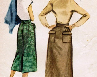 1950s McCall's 9356 Vintage Sewing Pattern Misses' Skirt Size Waist 28