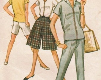 1960s McCall's 6863 Vintage Sewing Pattern Misses Sport Top, Culottes, Pants, Shorts Size 12 Bust 32