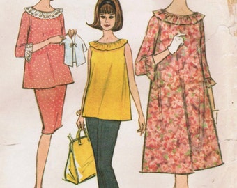 1960s McCall's 7814 Vintage Sewing Pattern Misses' Maternity Dress, Top, Skirt, Pants, Shorts Size 10 Bust 31