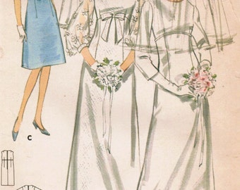 1960s Butterick 3986 Vintage Sewing Pattern Misses' Bridal Gown, Wedding Dress, Bridal Veil, and Bridesmaid Dress Size 10 Bust 31