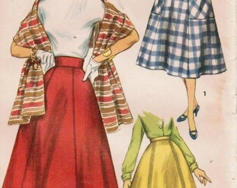 1950s Simplicity 1462 Vintage Sewing Pattern Misses' Skirts and Stole Size Waist 26
