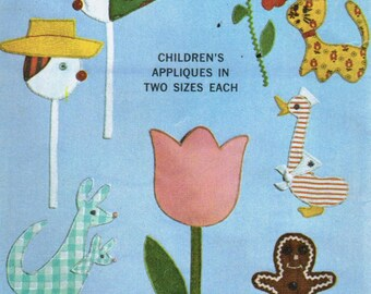 Vintage 1965 Simplicity 6259 UNCUT Applique Transfer Patterns Children's Appliques in 2 Sizes