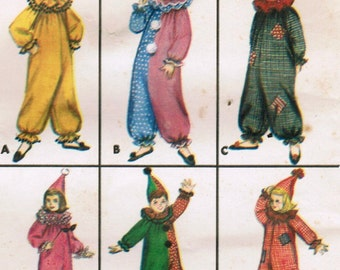 1960s Butterick 3169 Vintage Sewing Pattern Boys and Girls Clown Costume Pierrot Collar Size 2, Size 10, Size 14