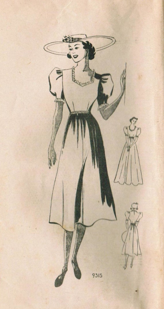 1930s Marian Martin 9315 Vintage Sewing Pattern Misses' Dress in 2 Lengths Size 14 Bust 32