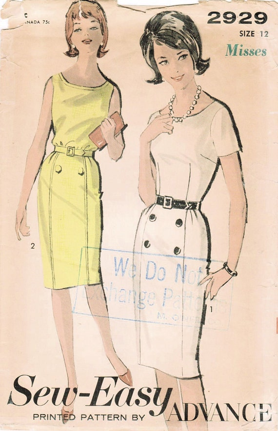 1960s Advance 2929 Vintage Sewing Pattern Misses' Dress Size 12 Bust 32