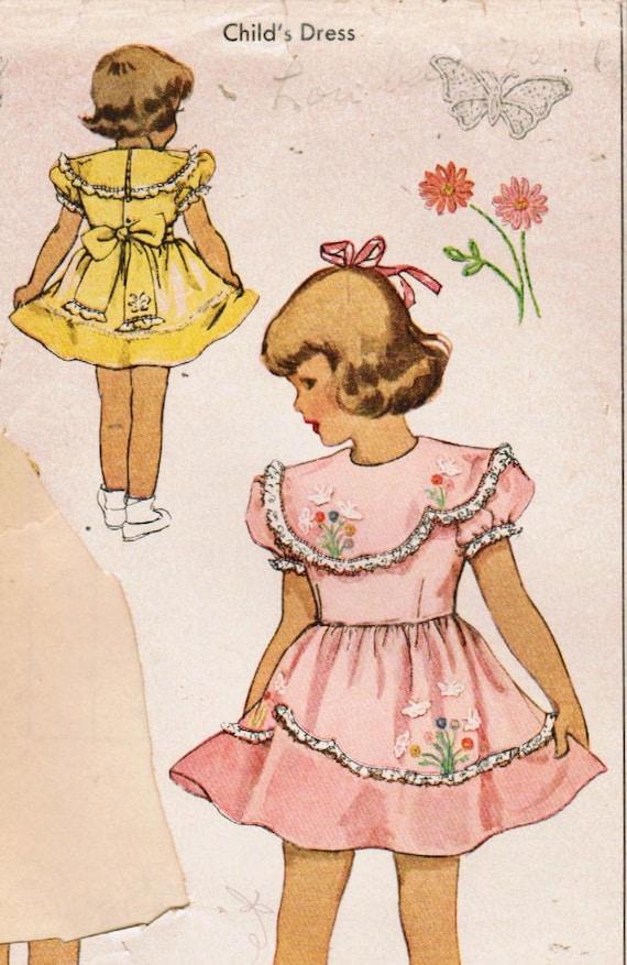 1940s McCall 1472 Vintage Sewing Pattern Toddler Party Dress, Full Skirt Dress, Heirloom Dress, Formal Dress Size 2