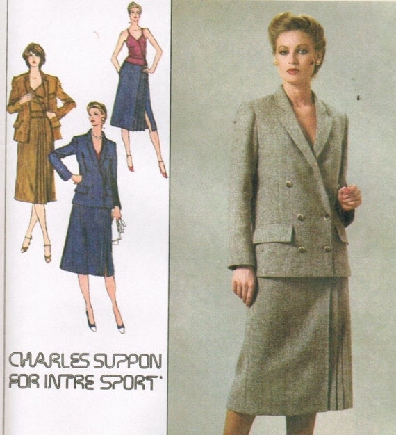 1970s Simplicity 9132 UNCUT Vintage Sewing Pattern Designer Charles Suppon Misses' Lined Skirt, Camisole, and Blazer Size 8 Bust 31-1/2