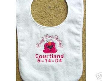 Happy First Birthday Elmo Bib Boy Girl Personalized Embroidered  Babys