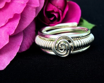 """Sterling Ring / Argentium Silver/ 3 Band Coil Ring/  """"Whirlpool"""""""
