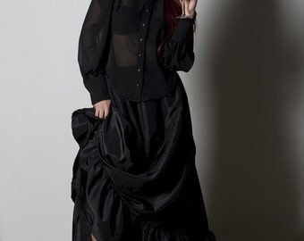 Sheer Blouse - Black Chiffon - Gothic Victorian Top- Steampunk Edwardian Style - Custom to Order - Petite to Plus size