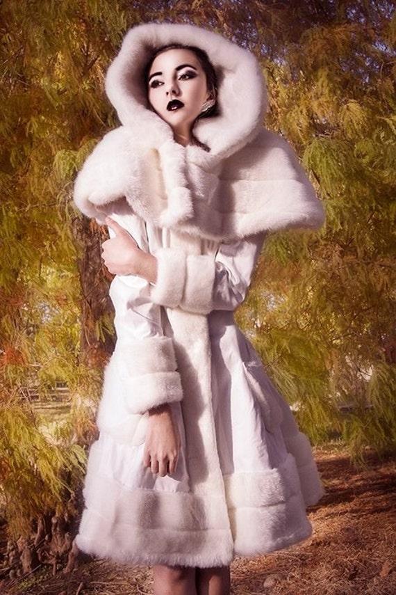 Winter Wonderland Wool Coat White Faux Fur Trim Japanese Lolita-Custom to your size