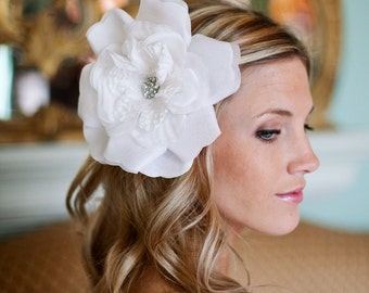 Pure White Bridal Hair Flower 6 or 4 inches option available