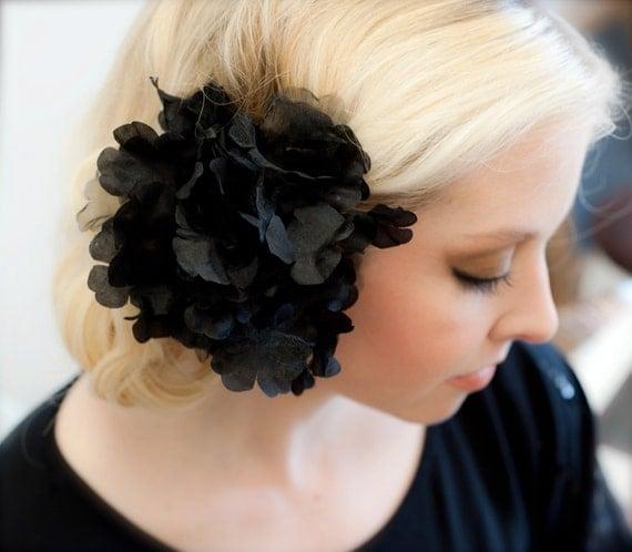Black Hair Flower Confetti Chiffon Hair Accessorie Flower