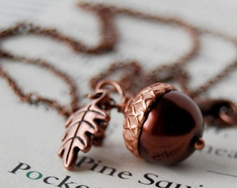 Chocolate and Copper Acorn Necklace