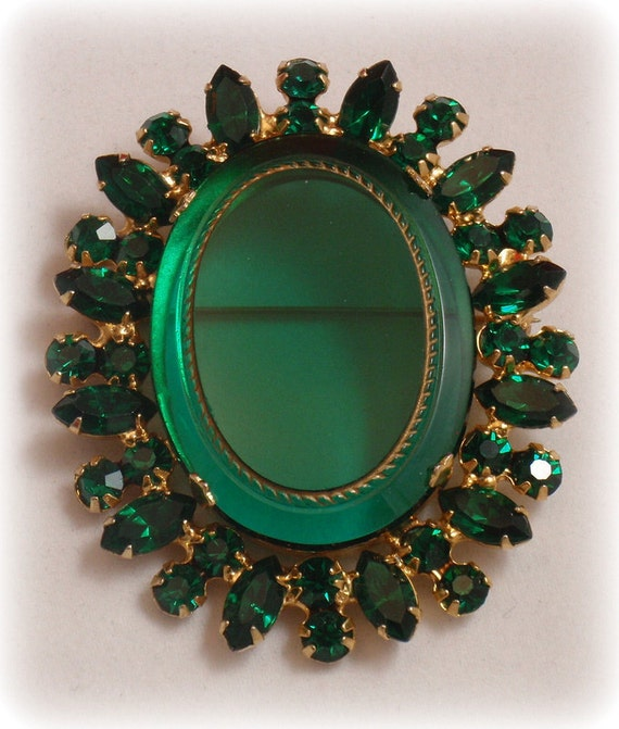 Juliana D&E Brooch Brilliant Green Rhinestones Verified