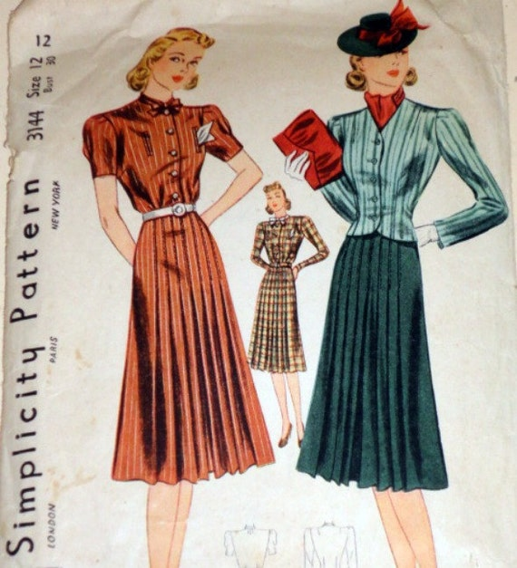 Vintage 1930's Simplicity 3144 Sewing Pattern, Dress And Jacket, Size 12, Bust 30