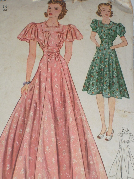 Vintage 1930's Simplicity 3303 Sewing Pattern, Misses' Dress, Size 14, Bust 32
