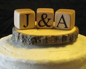 MONOGRAM CAKE TOPPER Rustic Wedding Cake Topper Custom Wood Wedding Cake Toppers Bride & Groom Initials Scrabble Wedding Wood Tree Slice