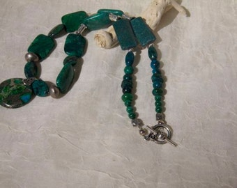 necklace green azurite turquoise blue  green sea sediment pendant and azurite blue green beads sterling silver beads and findings OOAK