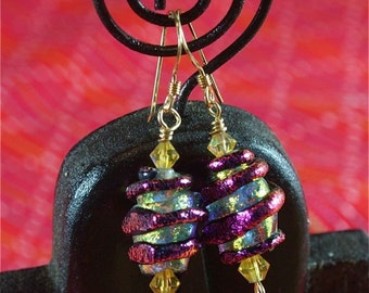 purple violet gold  dichoric earrings