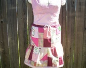 Rose Fushia and Pink All Over Bell Corset Crazy Patch Skirt OOAK