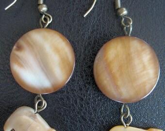 Bear Earrings Brown Fetish Seashell Beads Round Disc Dangle Earrings for pierced ears french hook