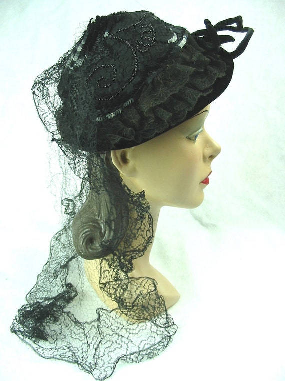 Clearance 1950's Vintage Hat with Sequins Lace Beads Mourning Veil