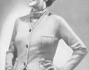Vintage 1930s Sweater 30s Belted Cardigan Art Deco Knitting Pattern PDF 3709