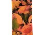 "SILK SCARF  -  ""Chokecherry""  Fine Art Fallen Leaves Image on Habotai Silk  - 14""  x  72"" -  wearable art"