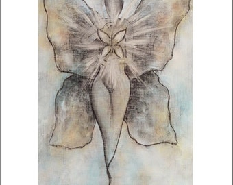 PRINT Butterfly winged goddess painting 8x10 reproduction, blue art print, butterfly goddess print, wings spiritual art