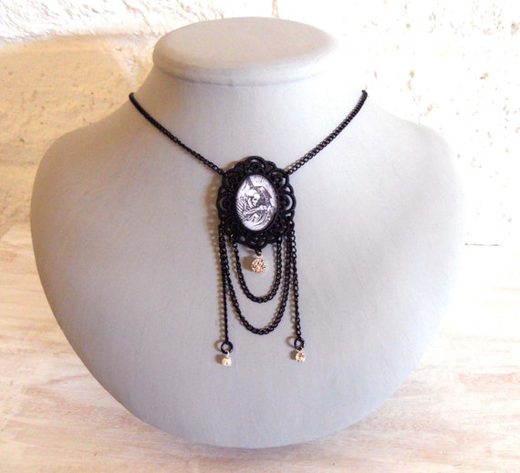 Day of the Dead Necklace Dia De Los Muertos- Skeleton playing Guitar in an Ornate Black Cameo Setting with Chains and Crystals