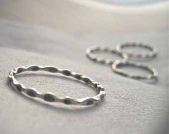 Delicate fluted sterling silver stacking ring- Handmade - sizes 3 - 10 American