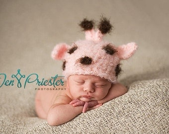 Baby Hat, Pink Giraffe Hat, Newborn Photo Prop, Newborn Baby Hat, Knit Newborn Hat, Baby Photo Prop