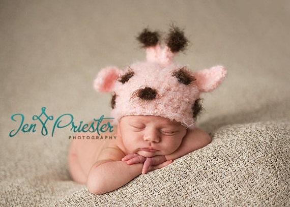 Baby Hat, Pink Giraffe Hat, Newborn Photo Prop, Newborn Baby Hat, Knit Newborn Hat, Baby Photo Prop