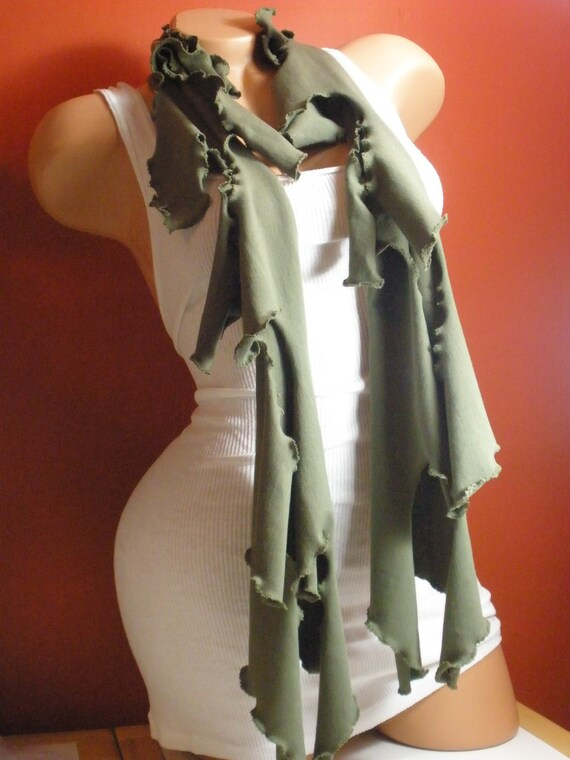 Unique and Beautiful Long Olive Green Neck Scarf